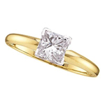 Princess Engagement Rings Natural  0.21 Carats Diamond Solid 14Kt Yellow Gold