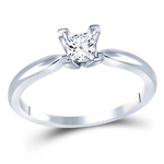 Princess Diamond Engagement Rings Natural  0.4 Carats Diamond Solid 14Kt White Gold