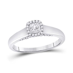Princess/Round Diamond Engagement Rings Natural  0.2 Carats Diamond Solid 10Kt White Gold