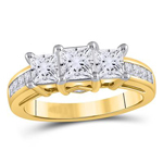 Princess Engagement Rings For Women Natural  1.54 Carats Diamond Solid 14Kt Yellow Gold