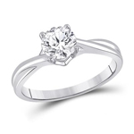 Gold Engagement Rings Natural Round 1 Carats Diamond Solid 14Kt White Gold