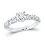 Round Engagement Rings Natural  0.75 Carats Diamond Solid 14Kt White Gold