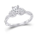 Round Engagement Rings Natural  0.7 Carats Diamond Solid 14Kt White Gold