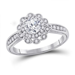 Round Diamond Engagement Rings Natural  0.71 Carats Diamond Solid 14Kt White Gold
