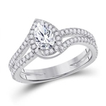 Pear/Round Engagement Rings For Women Natural  0.56 Carats Diamond Solid 14Kt White Gold