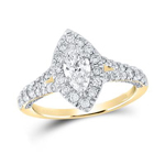Gold Engagement Rings Natural Marquise/Round 0.5 Carats Diamond Solid 14Kt Yellow Gold