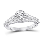 Oval/Round Engagement Rings Natural  0.33 Carats Diamond Solid 14Kt White Gold