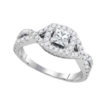 Princess/Round Diamond Engagement Rings Natural  0.4 Carats Diamond Solid 14Kt White Gold