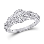 Oval/Round Engagement Rings For Women Natural  0.33 Carats Diamond Solid 14Kt White Gold
