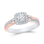 Round/Baguette Engagement Rings Natural  0.17 Carats Diamond Solid 10Kt Rose Gold