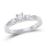 Round Diamond Engagement Rings Natural  0.26 Carats Diamond Solid 10Kt White Gold