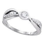 Round Engagement Rings For Women Natural  0.19 Carats Diamond Solid 10Kt White Gold