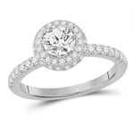 Gold Engagement Rings Natural Round 0.75 Carats Diamond Solid 14Kt White Gold