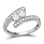 Round Engagement Rings Natural  0.38 Carats Diamond Solid 10Kt White Gold