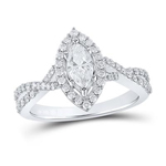 Marquise/Round Diamond Engagement Rings Natural  0.5 Carats Diamond Solid 14Kt White Gold