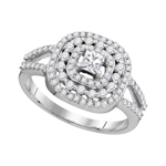 Princess/Round Engagement Rings For Women Natural  0.2 Carats Diamond Solid 14Kt White Gold