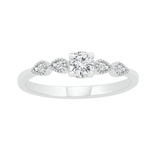 Round Engagement Rings Natural  0.3 Carats Diamond Solid 10Kt White Gold