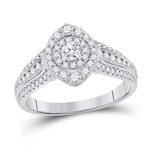 Round Diamond Engagement Rings Natural  0.2 Carats Diamond Solid 14Kt White Gold
