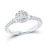 Round Engagement Rings Natural  0.41 Carats Diamond Solid 14Kt White Gold