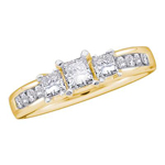 Princess/Round Diamond Engagement Rings Natural  0.33 Carats Diamond Solid 14Kt Yellow Gold