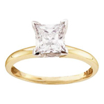 Princess Engagement Rings For Women Natural  0.9 Carats Diamond Solid 14Kt Yellow Gold