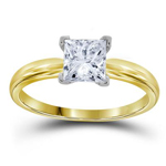 Gold Engagement Rings Natural Princess 0.75 Carats Diamond Solid 14Kt Yellow Gold