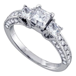 Princess/Round Engagement Rings Natural  0.5 Carats Diamond Solid 14Kt White Gold