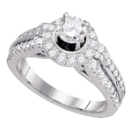 Round Engagement Rings For Women Natural  0.5 Carats Diamond Solid 14Kt White Gold