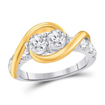 Round Engagement Rings Natural  0.61 Carats Diamond Solid 14Kt White Gold