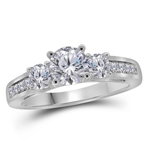 Round Diamond Engagement Rings Natural  0.75 Carats Diamond Solid 14Kt White Gold