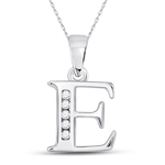 E Initial Pendant Natural Round 0.05 Carats Diamond Solid 10Kt White Gold Hip Hop Pendant