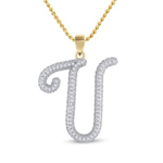 U Initial Pendant Natural Round 0.2 Carats Diamond Solid 10Kt Yellow Gold Hip Hop Pendant