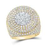 Hip Hop Gold Ring Natural Round 6.41 Carats Diamond Solid 10Kt Yellow Gold Hip Hop Ring