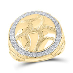 Hip Hop Diamond Ring Natural Round 0.78 Carats Diamond Solid 10Kt Yellow Gold Hip Hop Ring