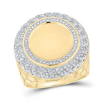 Mens Ring Natural Round 0.64 Carats Diamond Solid 10Kt Yellow Gold Hip Hop Ring