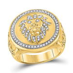 Hip Hop Ring Natural Round 0.65 Carats Diamond Solid 10Kt Yellow Gold Hip Hop Ring