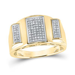 Hip Hop Gold Ring Natural Round 0.27 Carats Diamond Solid 10Kt Yellow Gold Hip Hop Ring