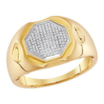 Hip Hop Diamond Ring Natural Round 0.21 Carats Diamond Solid 10Kt Yellow Gold Hip Hop Ring
