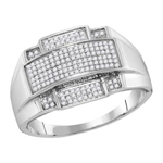 Mens Diamond Ring Natural Round 0.35 Carats Diamond Solid 10Kt White Gold Hip Hop Ring