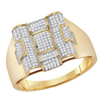 Mens Ring Natural Round 0.48 Carats Diamond Solid 10Kt Yellow Gold Hip Hop Ring