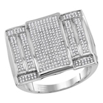 Hip Hop Ring Natural Round 0.64 Carats Diamond Solid 10Kt White Gold Hip Hop Ring