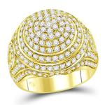 Hip Hop Gold Ring Natural Round 3.55 Carats Diamond Solid 14Kt Yellow Gold Hip Hop Ring
