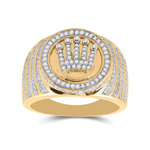 Mens Ring Natural Round 1.01 Carats Diamond Solid 10Kt Yellow Gold Hip Hop Ring