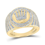 Hip Hop Ring Natural Round 1.11 Carats Diamond Solid 10Kt Yellow Gold Hip Hop Ring