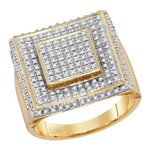 Hip Hop Gold Ring Natural Round 0.74 Carats Diamond Solid 10Kt Yellow Gold Hip Hop Ring