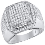 Mens Ring Natural Round 1.11 Carats Diamond Solid 10Kt White Gold Hip Hop Ring