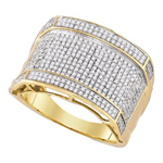 Mens Gold Ring Natural Round 1.05 Carats Diamond Solid 10Kt Yellow Gold Hip Hop Ring