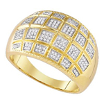 Hip Hop Gold Ring Natural Round 0.45 Carats Diamond Solid 10Kt Yellow Gold Hip Hop Ring