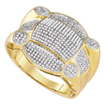Mens Diamond Ring Natural Round 0.75 Carats Diamond Solid 10Kt Yellow Gold Hip Hop Ring