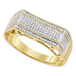 Mens Gold Ring Natural Round 0.4 Carats Diamond Solid 10Kt Yellow Gold Hip Hop Ring